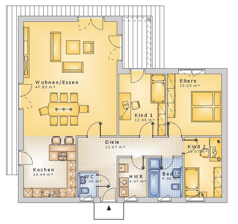 bauset bauset hausplaner meinhausplaner bungalow 03. Black Bedroom Furniture Sets. Home Design Ideas