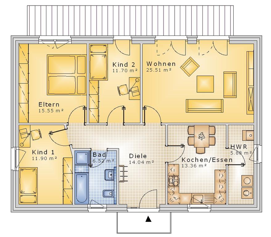 bauset bauset hausplaner meinhausplaner bungalow 05. Black Bedroom Furniture Sets. Home Design Ideas
